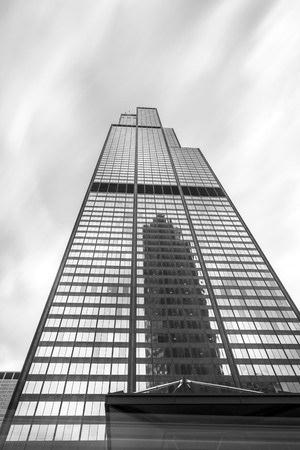 Sears Tower in Black and White, Chicago, Michigan, USA