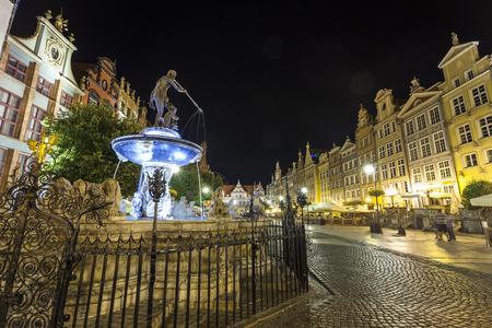 main gate: Neptune fountain at Gdansk main street called Dluga