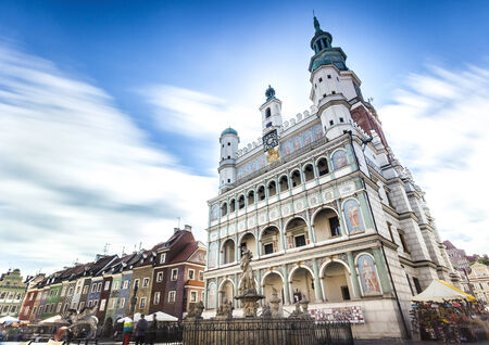 townhall: Historic Poznan City Hall located in the middle of a main square, Poland