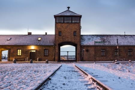 auschwitz memorial: Main gate to nazi concentration camp of Auschwitz Birkenau, Poland Editorial