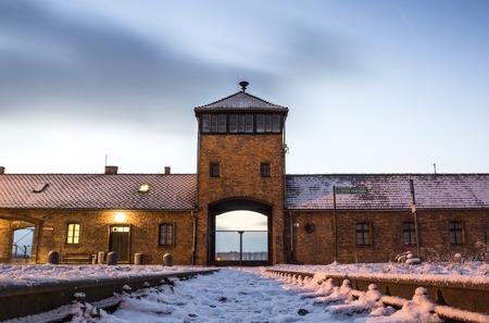 birkenau: Main gate to nazi concentration camp of Auschwitz Birkenau, Poland Editorial