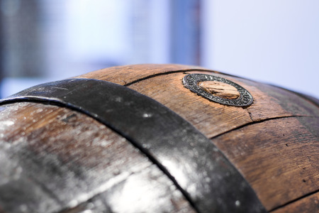 Close up of an old wooden beer barrel photo