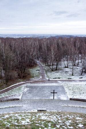 mound: Late winter in Krakow park, photo taken from Pilsudski Mound Stock Photo