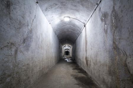 world war 2: Ruined corridor in a World War 2 fort.