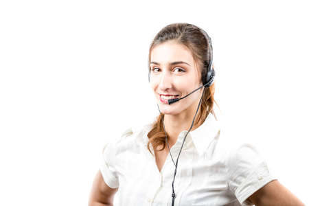 Support phone operator in headset isolated on white photo