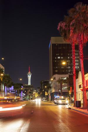 las vegas lights: Las Vegas street by night, Nevada, USA Editorial