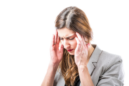suffers: Young woman suffers from headache. Stock Photo