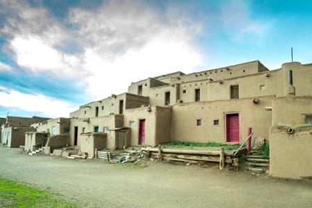adobe pueblo: Adobe settlement represents the culture of the Pueblo Indians of Arizona and New Mexico, USA