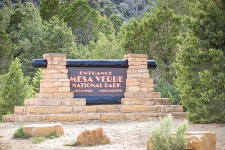 anasazi ruins: Entering Mesa Verde National Park Colorado USA Stock Photo
