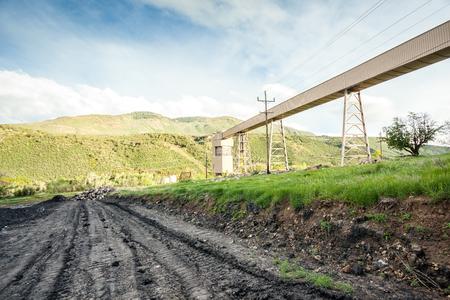 conveyors: Coal mine conveyors among beautiful mountains, USA