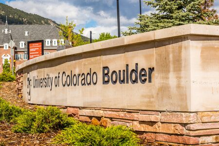 university building: Entrance to University of Colorado Boulder Editorial