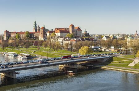 polska monument: Royal Castle called Wawel in Krakow, Poland, Europe Editorial
