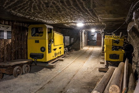salt mine: Underground mine tunnel with mining equipment in famous Wieliczka Salt Mine, Poland