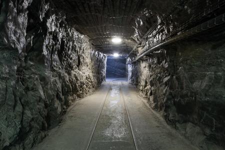 Underground mine tunnel in famous Wieliczka Salt Mine, Poland