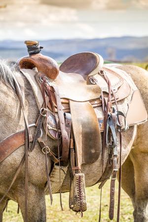horse saddle: Horse saddle on the American ranch