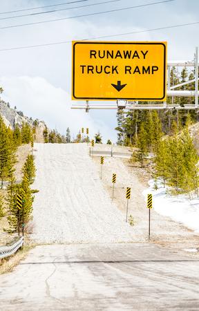 secure brake: Runaway Truck Ramp Road Sign