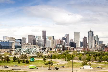 denver skyline with mountains: Denver cityscape, Colorado Capitol City, USA