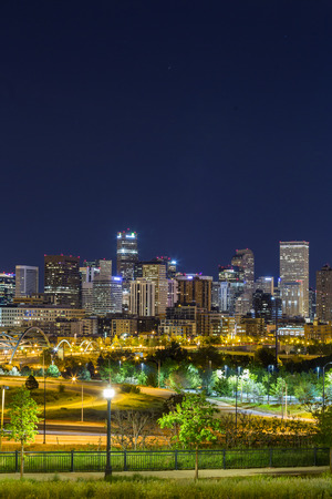Denver downtown panorama at night, Colorado, USA
