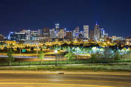 denver city park: Denver downtown panorama at night, Colorado, USA