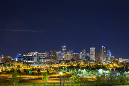 denver skyline: Denver downtown panorama at night, Colorado, USA