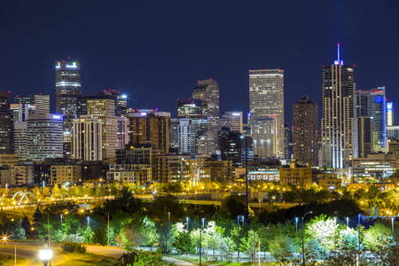 Denver downtown panorama at night, Colorado, USA