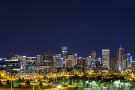 colorado skyline: Denver downtown panorama at night, Colorado, USA
