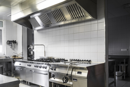 tiled stove: Modern industrial kitchen, white and silver interior