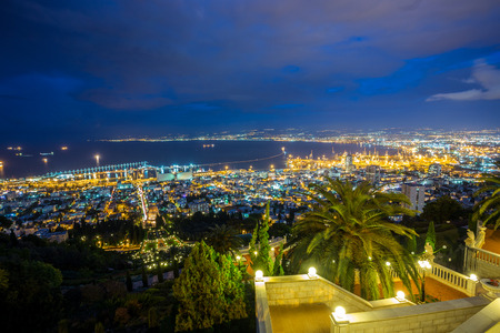 Panorama of Haifa - port and Bahai garden at night, Israel