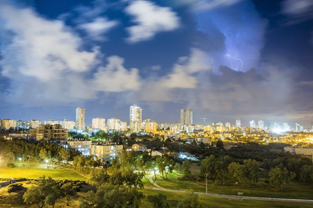 ashdod: Residential area of Ashdod during storm, Israel
