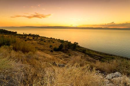 Panorama of east side of The Galilee Sea, Israel Standard-Bild