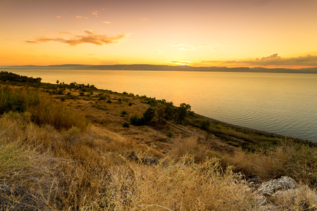 Panorama of east side of The Galilee Sea, Israel 免版税图像