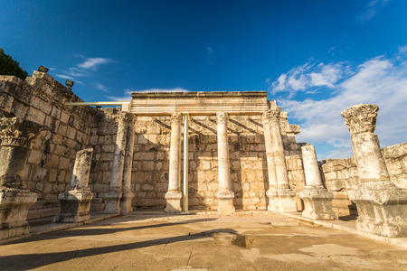 ancient buildings: Synagogue in Jesus Town of Capernaum, Israel