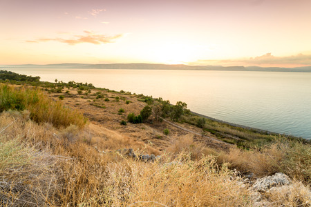 Panorama of east side of The Galilee Sea, Israel Stock Photo