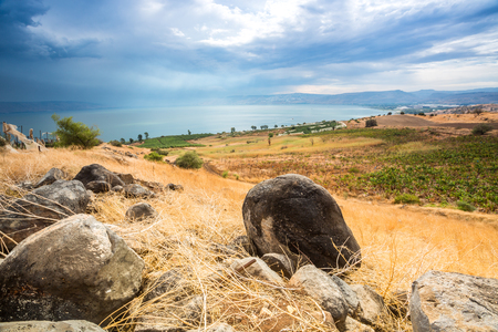 beatitude: Galilee panorama taken from Mount of Beatitudes which is believed to be the one from where Jesus gave Sermon on the Mount