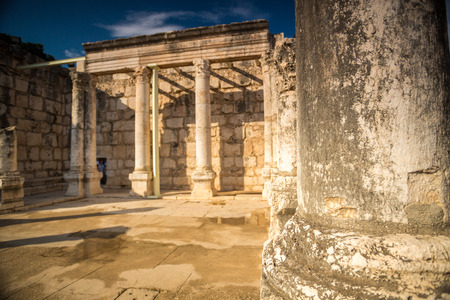 jewish houses: Synagogue in Jesus Town of Capernaum, Israel