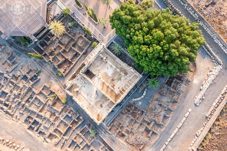 galilee: Aerial view of Capernaum, Town of Jesus, Galilee, Israel
