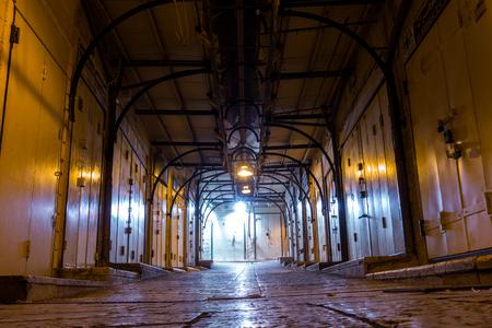 industry moody: Arabic market closed at night, Nazareth, Israel