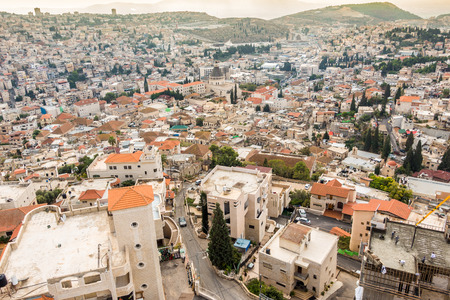 country church: Panorama of Nazareth with Basilica of Annunciation, Galilee, Israel