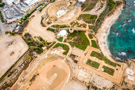 Cesarea National Park from above showing beauty of that place, Israel
