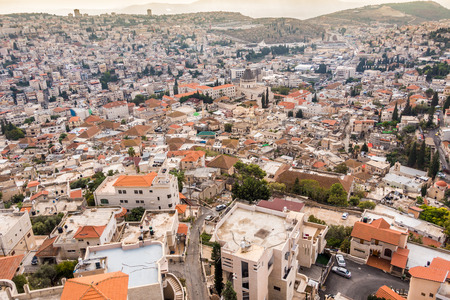 overpopulated: Panorama of Nazareth with Basilica of Annunciation, Galilee, Israel