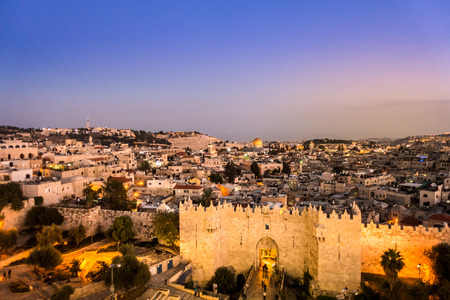 Panorama of Jerusalem with famous Damascus Gate in front, Israel