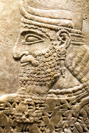 israel museum: Man at Assyrian relief, Israel Museum, Jerusalem, Israel