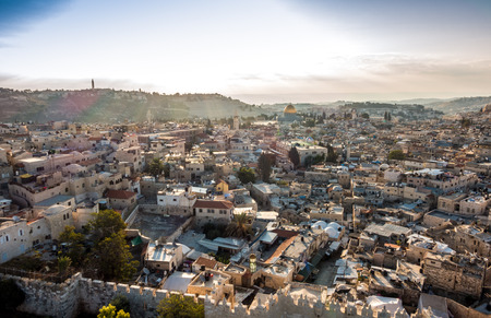 Skyline of the Old City at Temple Mount in Jerusalem, Israel, Middle east