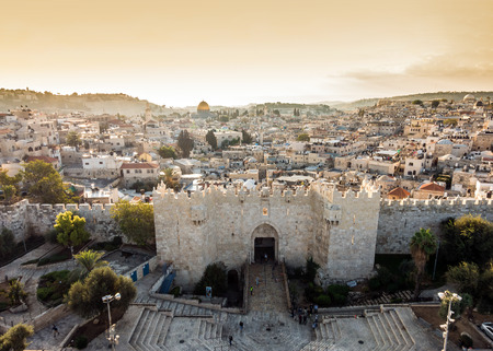 Skyline of the Old City in Jerusalem with Damascus Gate, Israel. Middle east 免版税图像 - 50757864