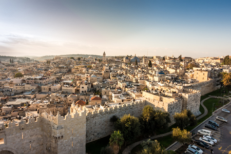 east gate: Skyline of the Old City in Jerusalem with Damascus Gate, Israel. Middle east Stock Photo