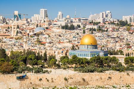 Skyline van de Oude Stad op de Tempelberg in Jeruzalem, Israël, Midden-Oosten Stockfoto