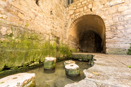 Historic pool of Siloam where Hezekiah's tunnel ends, Jerusalem, Israel