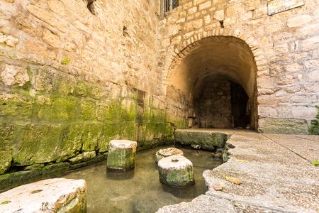 Historic pool of Siloam where Hezekiah's tunnel ends, Jerusalem, Israel