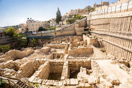Sitio arqueológico en la ciudad de David, Jerusalén, Israel Foto de archivo - 50758078