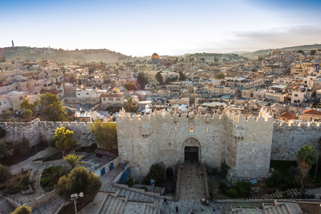 Skyline of the Old City in Jerusalem with Damascus Gate, Israel. Middle east Banco de Imagens